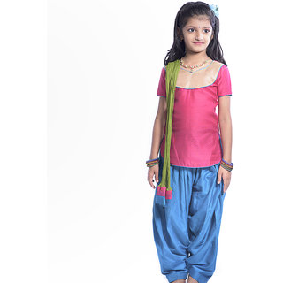 Dark pink kurta in soft silk with golden brocade yoke teamed with blue patiyala in soft silk with green dupatta in chiffon