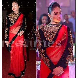 79630f98e114f Online MIA Red Saree With Black Heavy Blouse Prices - Shopclues India