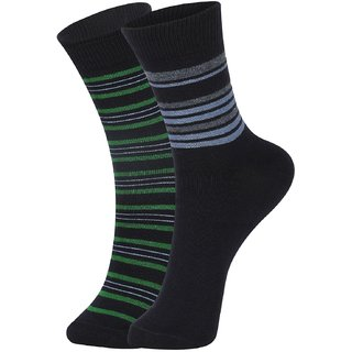 DUKK Men's Green  Navy Blue Ankle Length Cotton Lycra Socks (Pack of 2)