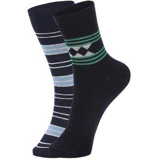DUKK Men's Navy Blue Ankle Length Cotton Lycra Socks (Pack of 2)