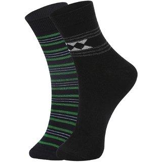DUKK Men's Green  Black Ankle Length Cotton Lycra Socks (Pack of 2)