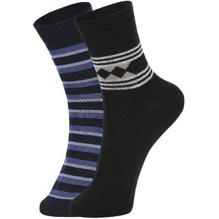 DUKK Men's Navy Blue  Black Ankle Length Cotton Lycra Socks (Pack of 2)