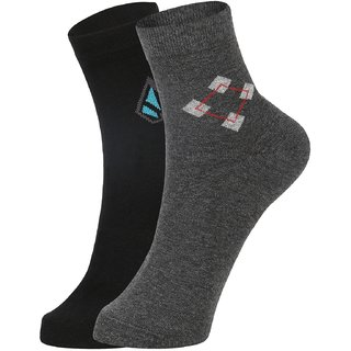 DUKK Men's Black  Grey Ankle Length Cotton Lycra Socks (Pack of 2)