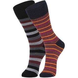 DUKK Men's Maroon  Orange Glean Length Cotton Lycra Socks (Pack of 2)