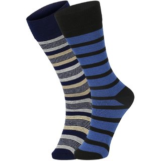 DUKK Men's Navy Blue  Blue Glean Length Cotton Lycra Socks (Pack of 2)
