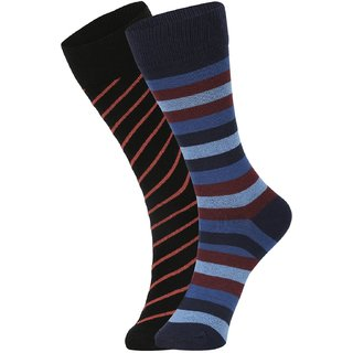 DUKK Men's Black  Blue Glean Length Cotton Lycra Socks (Pack of 2)