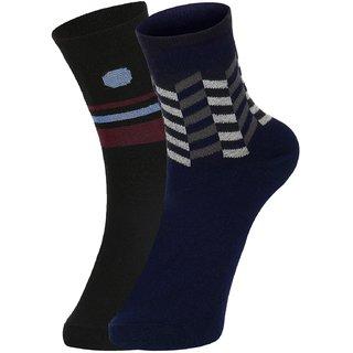 DUKK Men's Black  Navy Blue Ankle Length Cotton Lycra Socks (Pack of 2)