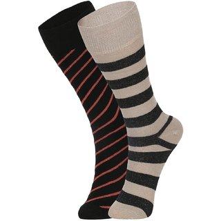 DUKK Men's Black  Beige Glean Length Cotton Lycra Socks (Pack of 2)
