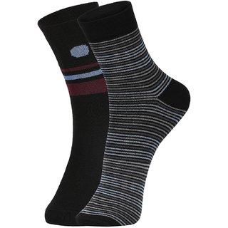 DUKK Men's Black  Blue Ankle Length Cotton Lycra Socks (Pack of 2)
