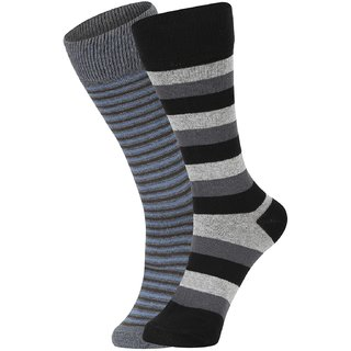 DUKK Men's Black  Grey Glean Length Cotton Lycra Socks (Pack of 2)