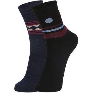 DUKK Men's Navy Blue  Black Ankle Length Cotton Lycra Socks (Pack of 2)