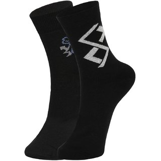 DUKK Men's Black Ankle Length Cotton Lycra Socks (Pack of 2)