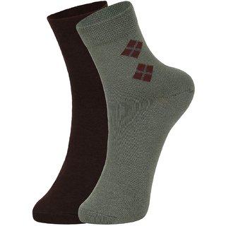 DUKK Men's Brown  Green Ankle Length Cotton Lycra Socks (Pack of 2)