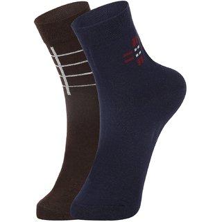 DUKK Men's Brown  Blue Ankle Length Cotton Lycra Socks (Pack of 2)