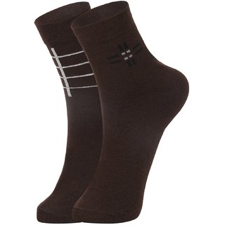 DUKK Men's Brown Ankle Length Cotton Lycra Socks (Pack of 2)