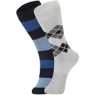 DUKK Men's Blue  Grey Glean Length Cotton Lycra Socks (Pack of 2)