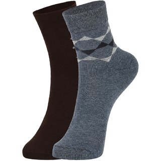 DUKK Men's Brown  Navy Blue Ankle Length Cotton Lycra Socks (Pack of 2)