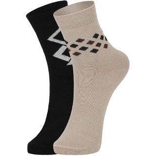 DUKK Men's Black  Beige Ankle Length Cotton Lycra Socks (Pack of 2)