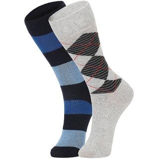 DUKK Men's Blue  Grey Glean Length Cotton Lycra Socks (Pack of 2)