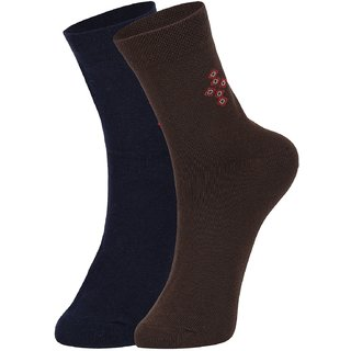 DUKK Men's Navy Blue  Brown Ankle Length Cotton Lycra Socks (Pack of 2)
