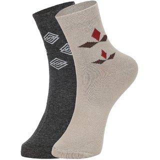 DUKK Men's Grey  Beige Ankle Length Cotton Lycra Socks (Pack of 2)