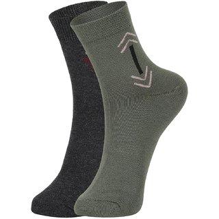 DUKK Men's Grey  Green Ankle Length Cotton Lycra Socks (Pack of 2)