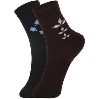 DUKK Men's Black  Brown Ankle Length Cotton Lycra Socks (Pack of 2)
