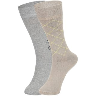 DUKK Men's Grey  Beige Glean Length Cotton Lycra Socks (Pack of 2)
