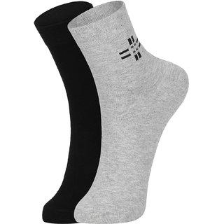 DUKK Men's Black  Grey Ankle Length Cotton Lycra Socks (Pack of 2)