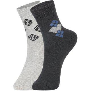 DUKK Men's Grey Ankle Length Cotton Lycra Socks (Pack of 2)