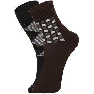 DUKK Men's Black  Brown Glean Length Cotton Lycra Socks (Pack of 2)