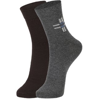 DUKK Men's Brown  Grey Ankle Length Cotton Lycra Socks (Pack of 2)