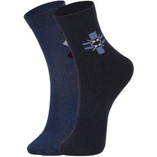 DUKK Men's Blue  Navy Blue Ankle Length Cotton Lycra Socks (Pack of 2)