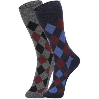 DUKK Men's Grey  Navy Blue Glean Length Cotton Lycra Socks (Pack of 2)