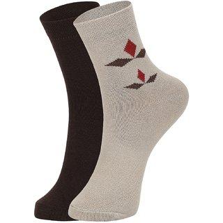 DUKK Men's Brown  Beige Ankle Length Cotton Lycra Socks (Pack of 2)