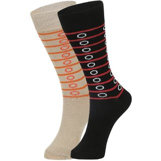 DUKK Men's Beige  Red Glean Length Cotton Lycra Socks (Pack of 2)