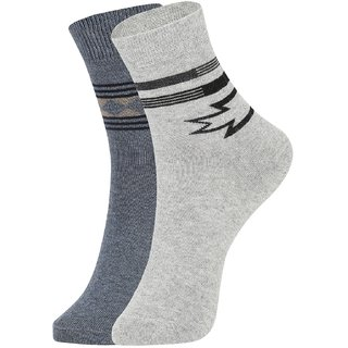 DUKK Men's Grey Ankle Length Cotton Lycra Socks (Pack of 2)