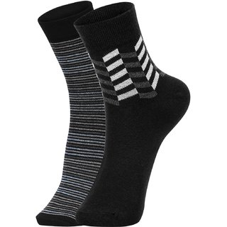 DUKK Men's Blue  Black Ankle Length Cotton Lycra Socks (Pack of 2)