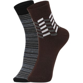 DUKK Men's Blue  Brown Ankle Length Cotton Lycra Socks (Pack of 2)