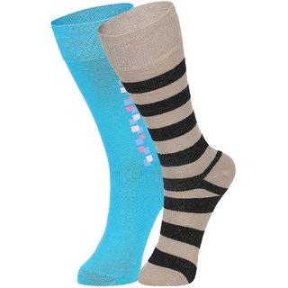 DUKK Men's Turquoise  Beige Glean Length Cotton Lycra Socks (Pack of 2)