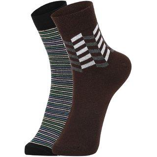 DUKK Men's Green  Brown Ankle Length Cotton Lycra Socks (Pack of 2)