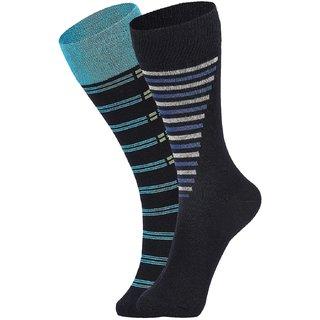 DUKK Men's Turquoise  Navy Blue Glean Length Cotton Lycra Socks (Pack of 2)