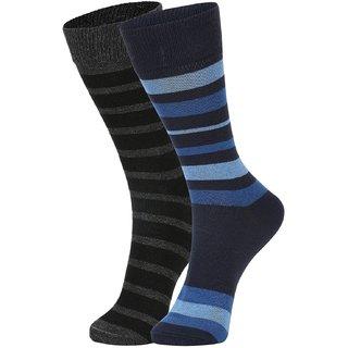 DUKK Men's Black  Blue Glean Length Cotton Lycra Socks (Pack of 2)