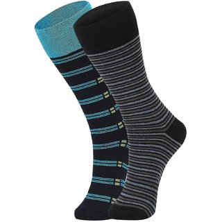 DUKK Men's Turquoise  Black Glean Length Cotton Lycra Socks (Pack of 2)