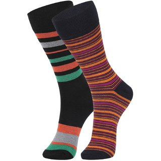 DUKK Men's Green  Orange Glean Length Cotton Lycra Socks (Pack of 2)