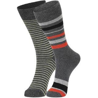 DUKK Men's Yellow  Orange Glean Length Cotton Lycra Socks (Pack of 2)