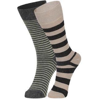 DUKK Men's Yellow  Beige Glean Length Cotton Lycra Socks (Pack of 2)