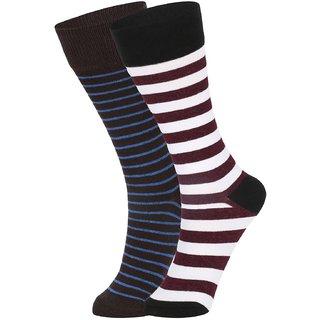 DUKK Men's Brown  White Glean Length Cotton Lycra Socks (Pack of 2)