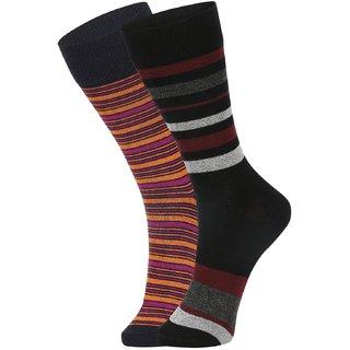 DUKK Men's Orange  Black Glean Length Cotton Lycra Socks (Pack of 2)