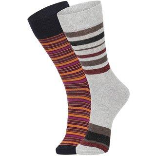DUKK Men's Orange  Grey Glean Length Cotton Lycra Socks (Pack of 2)